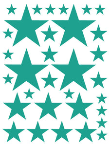 TURQUOISE STAR WALL DECALS