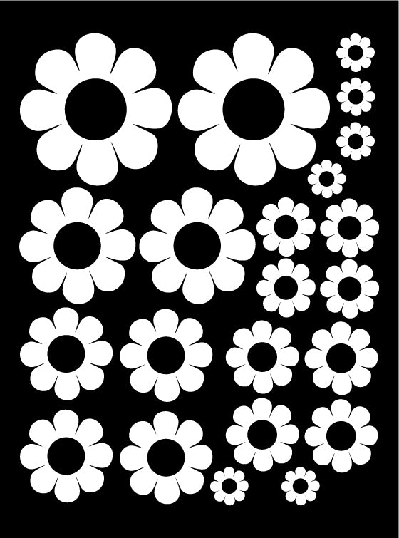 WHITE DAISY WALL DECALS