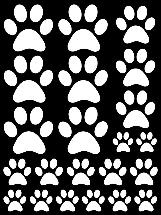 WHITE PAW PRINT WALL DECALS