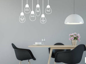 WHITE HANGING LIGHT BULB WALL STICKERS