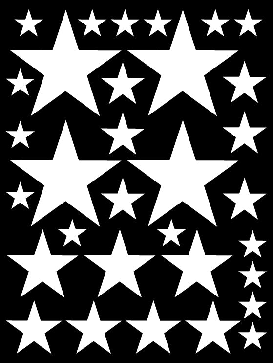WHITE STAR WALL DECALS