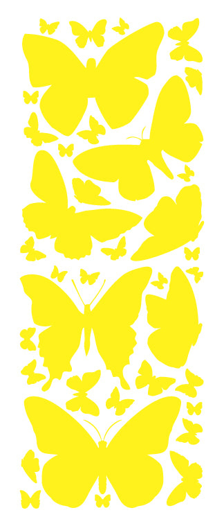 YELLOW BUTTERFLY WALL DECALS