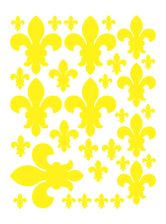 YELLOW FLEUR DE LIS WALL DECALS