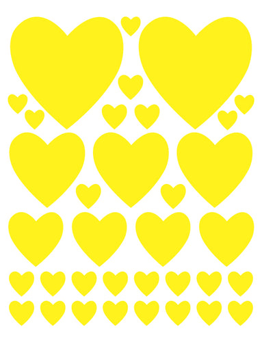 YELLOW HEART WALL DECALS