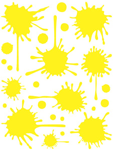 YELLOW PAINT SPLATTER WALL DECAL