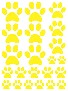 YELLOW PAW PRINT WALL DECALS