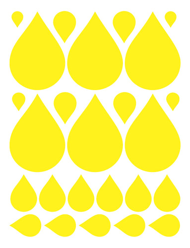 YELLOW RAINDROP WALL DECALS