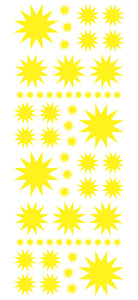 YELLOW STARBURST WALL STICKERS