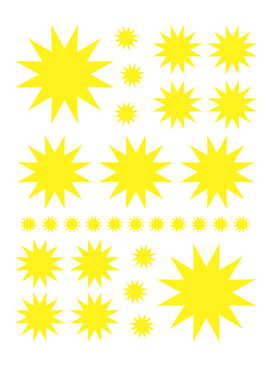 YELLOW STARBURST WALL DECALS