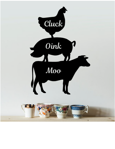 CLUCK OINK MOO COUNTRY KITCHEN WALL DECAL