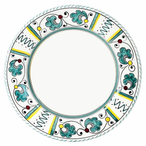 ORVIETO GREEN ROOSTER: Dinner Plate (White Center)