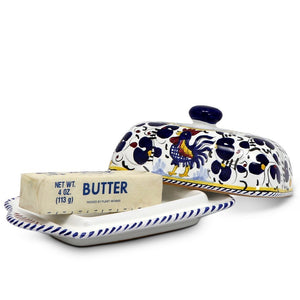 ORVIETO BLUE ROOSTER: Butter Dish with Cover