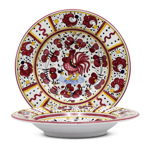ORVIETO RED ROOSTER: Rim Pasta Soup Bowl