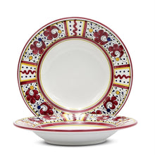 Load image into Gallery viewer, ORVIETO RED ROOSTER: Coupe Pasta Soup Bowl (White Center)