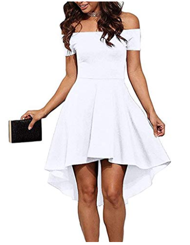 6805c90f2 Womens High Low Cocktail Skater Dress Off The Shoulder Short Sleeve ...
