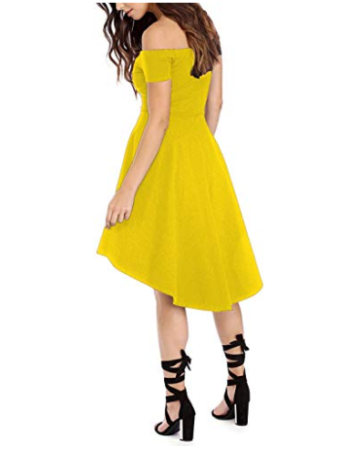 c710f1e94 Yellow Womens High Low Cocktail Skater Dress Off The Shoulder Short ...