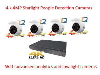 Installed NYX 4 x 4MP Starlight IP Cameras with people & face detection and 4 ch 4k NVR .