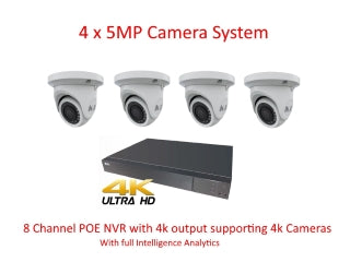 Installed  NYX 4 x 5MP IP Cameras with 8 channel 4k NVR with time slice playback.