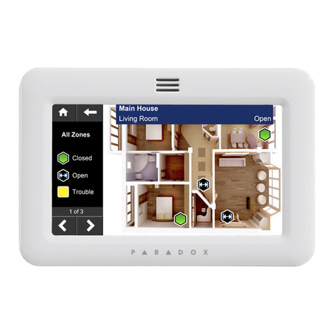 "Paradox TM50 5"" Touchscreen Keypad, SpotOn Locator"