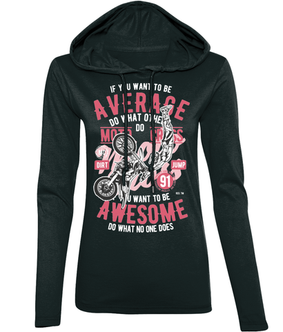 Awesome Motocross - Anvil Ladies Fashion Basic Long Sleeve Hooded T-Shirt