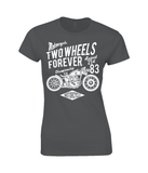 Two Wheels Forever White - Gildan SoftStyle® Ladies Fitted Ringspun T-Shirt