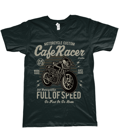 Cafe Racer v1 - Anvil Fashion Basic V Neck T-Shirt