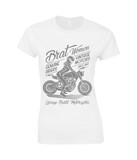 Brat Women Grey - Gildan Ladies Premium Cotton T-Shirt - Biker T-Shirts UK