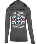 Live To Ride 1980 - Anvil Ladies Fashion Basic Long Sleeve Hooded T-Shirt
