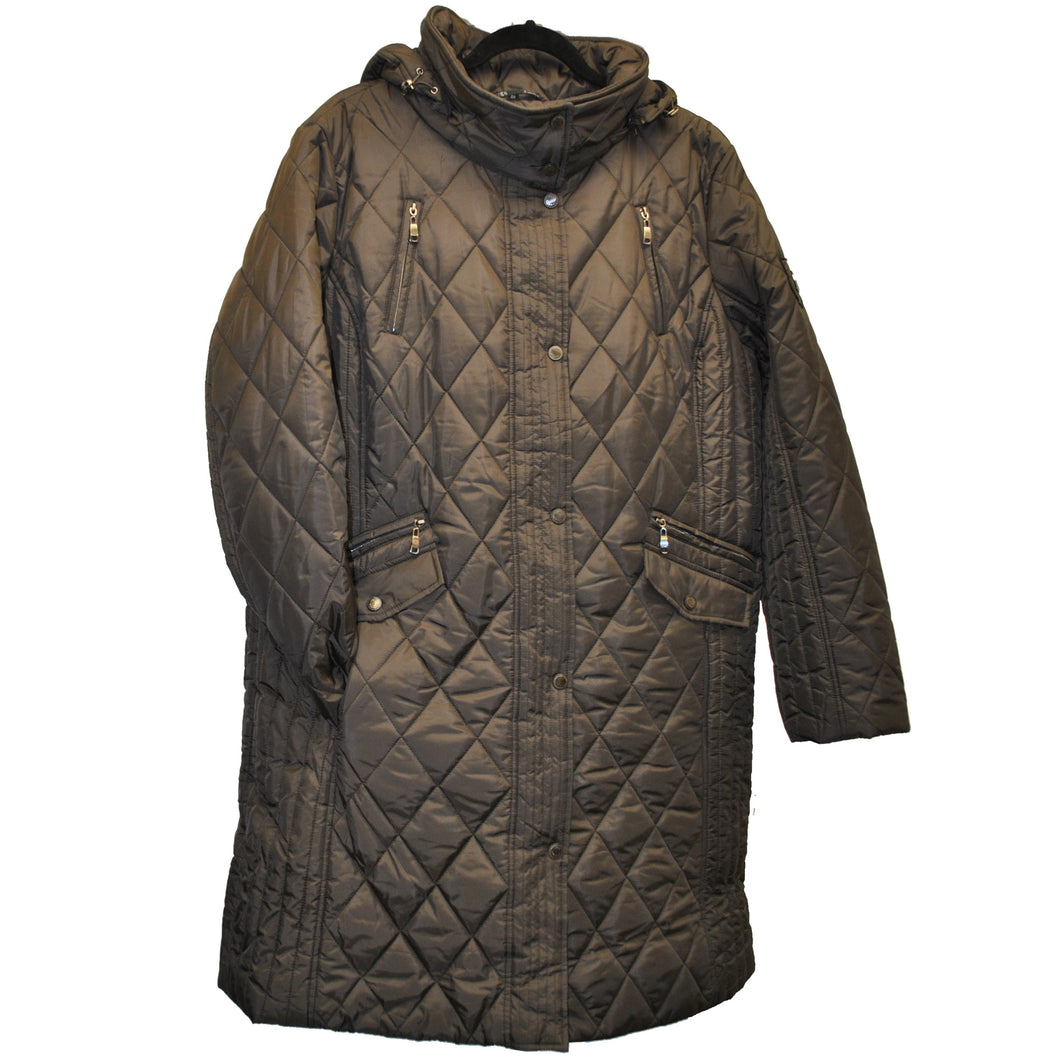 Front view of Brown 3/4 length Plus size winter coat