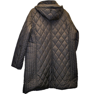 Rear view of Brown 3/4 length Plus size winter coat