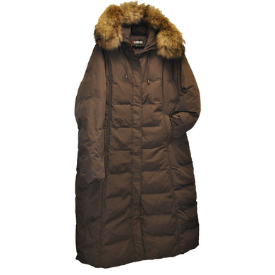 Brown Flash Geo Goose Down Full Length Winter Coat Plus sizes 2X, 3X and 4X