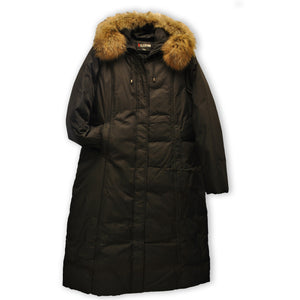 Front of Black goose down full length winter coat plus sizes 2X, 3X and 4X