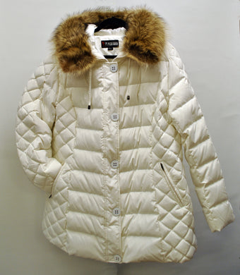 Front view of white duck down winter coat plus sizes 3x and 4X