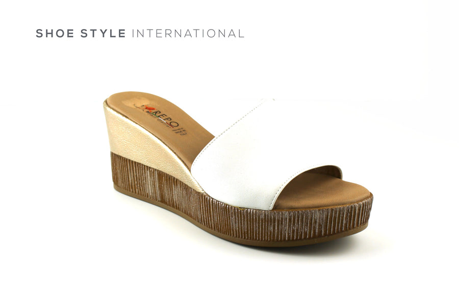 Paul Gatier by Repo Shoes, Repo 51226 White Wedge Platform Open Toe Slider, Shoe_Style_International-Wexford-Gorey-Ireland