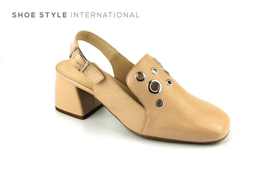 Wonders 3336 Nude Leather Closed Toe with Slingback Block Mid-heel Ireland Shoe Shops online, Shoe Style International, Location Wexford Gorey, Ireland
