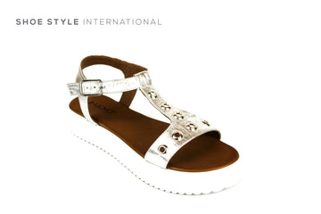 Inuovo Sandals, Inuovo Shoes, Open Toe Silver Sandals with Gold Eyelet Detail, Shoe Style International Wexford Gorey Ireland