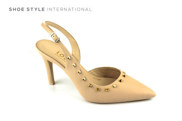 Lodi Raez TP Nude High Heel Court Shoe with Pointed Toe and Gold Stud Detail, Ireland Shoe Shops online, Shoe Style International, Location Wexford Gorey, Ireland