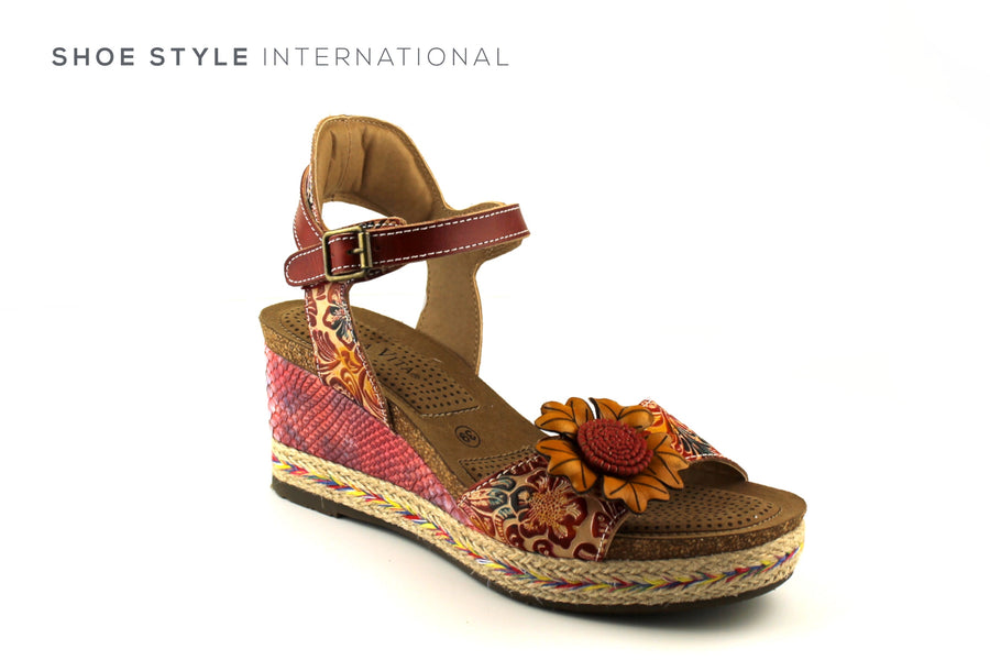 Laura Vita Shoes, Laura Vita shoes Ireland online, Open Toe Wedge Sandals with Flower Detail in Red, Shoe_Style_International-Wexford-Gorey-Ireland