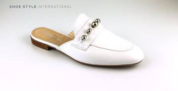 Evaluna Shoe, Low Block White in Nude Leather with Silver Studs. Shoe_Style_International-Wexford-Gorey-Ireland