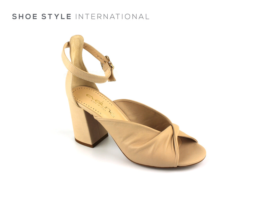 Evaluna Shoes, Block High Heel with Ankle Strap and Peep Toe, Colour Nude, Shoe_Shops-online-Shoe_Style_International-Wexford-Gorey-Ireland