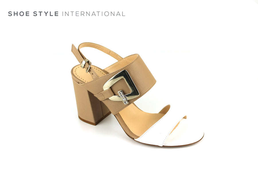Evaluna 3031 Beige White Open Toe Sandal with Slingback Ireland Shoe Shops online, Shoe Style International, Location Wexford Gorey, Ireland