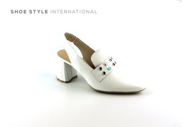 Wonders 9706 Slingback High Heel in White Leather with a closed pointed toe, Shoe_Style_International-Wexford-Gorey-Ireland