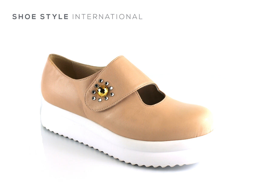 Marco Moreo 431, Flatform Shoe with Diamante Detail and Velcro Strap to Close, Colour Nude, Ireland Shoe Shops online, Shoe Style International, Location Wexford Gorey, Ireland