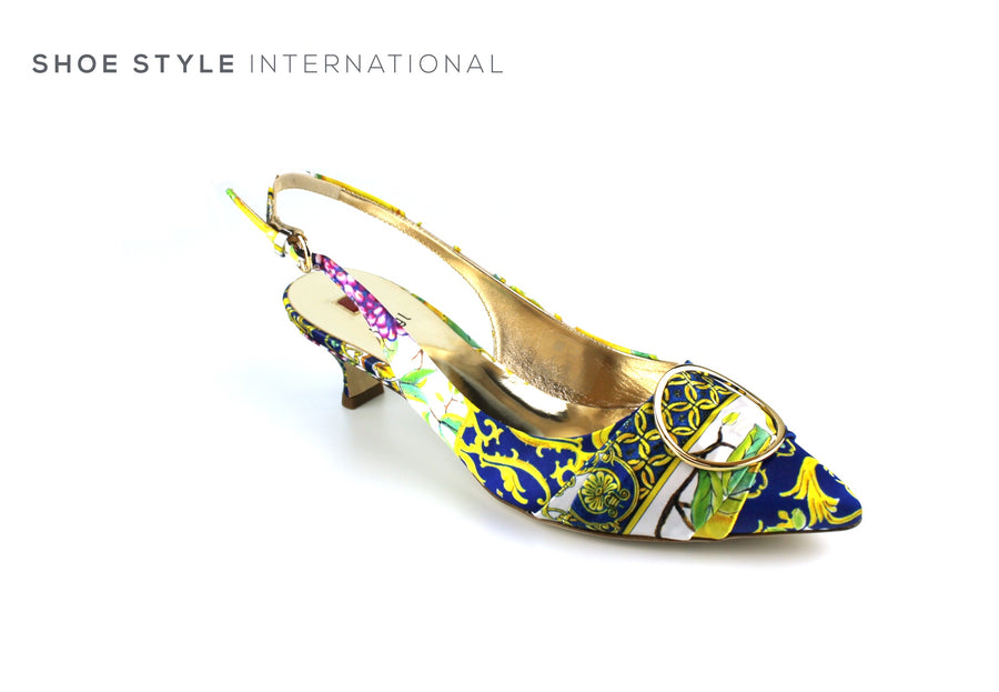Hogl Shoes, Hogl Kitten Heel, the Upper is Mutli Coloured in Silk, Shoe_Style_International-Wexford-Gorey-Ireland