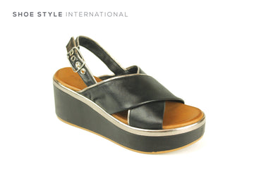 Inuovo Sandals, Inuovo Shoes, Open Toe Wedge Sandals in Black with Ankle Closing, Shoe Style International location wexford gorey ireland, shoes online ireland