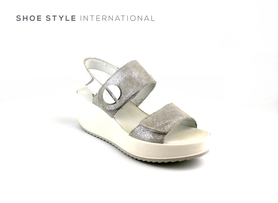 Igi & Co Wedge Open Toe Sandal with Velcro Strap to close, Colour Silver, Shoe_Style_International-Wexford-Gorey-Ireland