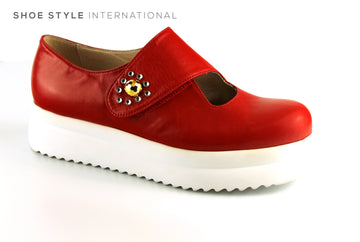 Marco Moreo 431, Flatform Shoe with Diamante Detail and Velcro Strap to Close, Colour Red, Ireland Shoe Shops online, Shoe Style International, Location Wexford Gorey, Ireland