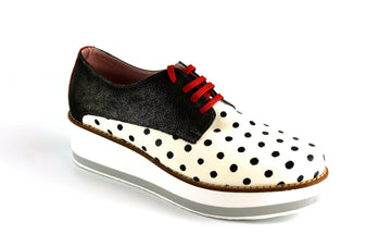 Maria Leon Lace Up Casual Shoe with Polka dot detail, in Black and Cream, Ireland Shoe Shops online, Shoe Style International, Location Wexford Gorey, Ireland