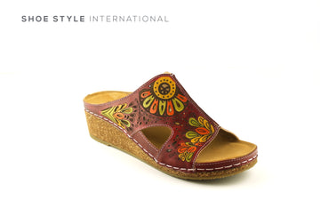 Laura Vita Shoes online Ireland, Open Toe Wedge Mule Coloir Wine Multi, Shoe_Style_International-Wexford-Gorey-Ireland