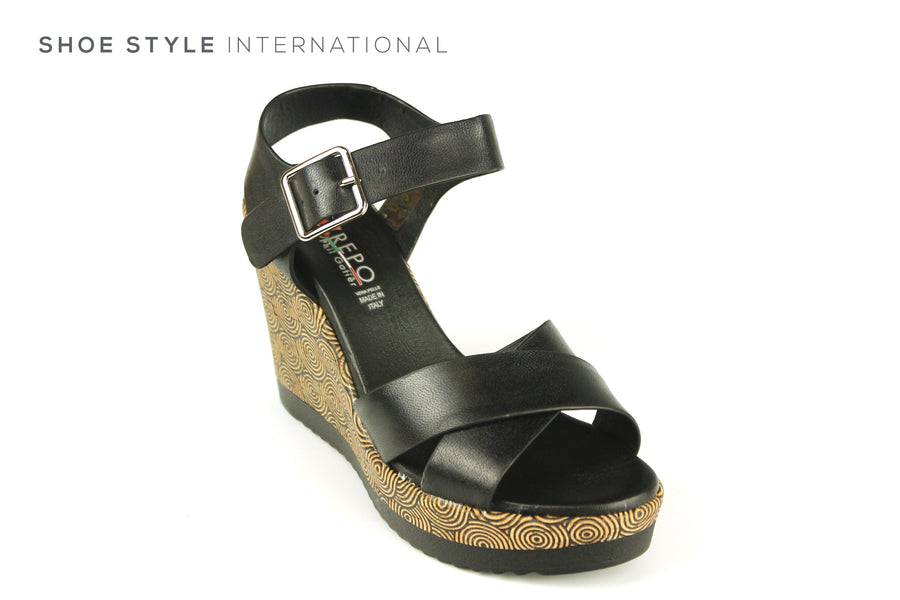 Repo Sandals, Repo Shoes, Repo 52218 Black Wedge Open Toe Sandal, Shoe Style International Wexford Gorey Ireland, Shoes online Ireland